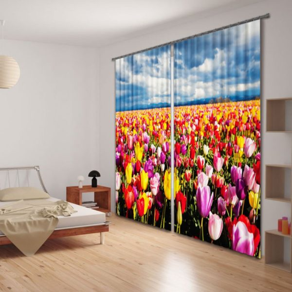 Tulip Flower Themed Curtain Set