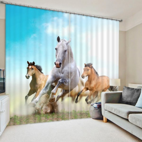 Lovely Horse Picture Curtain Set