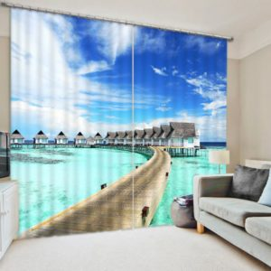 Chic Blue Sea And Bridge Curtain Set