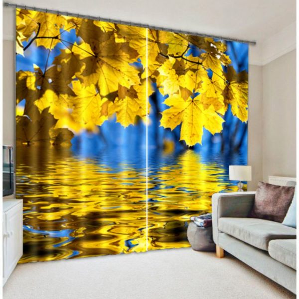 Pretty Yellow Leaves Curtain Set