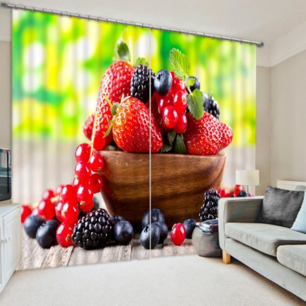 Pretty Berry Picture Curtain Set