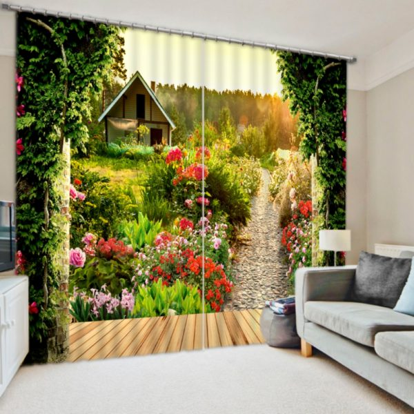 Pretty Cottage Picture Curtain Set In Nature Theme