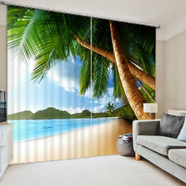 Pretty Palm Trees Curtain Set In Nature Theme