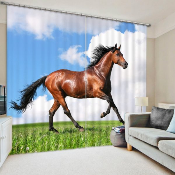 Elegant Horse Picture Curtain Set