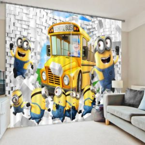 Cute Minion Picture Curtain Set