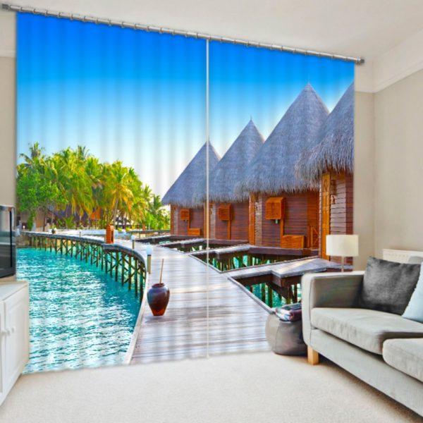 Beautiful Beach Themed Curtain Set