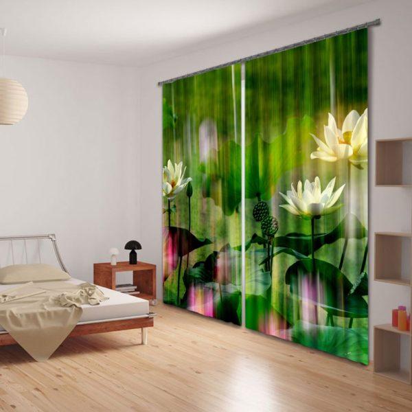 White Lotus Curtain Set