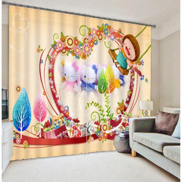 Enchanting Hello Kitty Picture Curtain Set