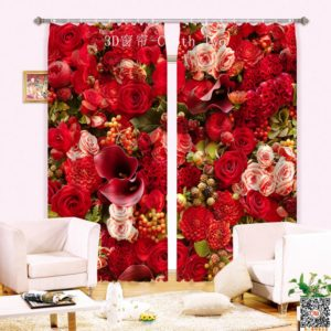 83amazon zpstyvxrhr1 300x300 - Curtain Set With Rose Design
