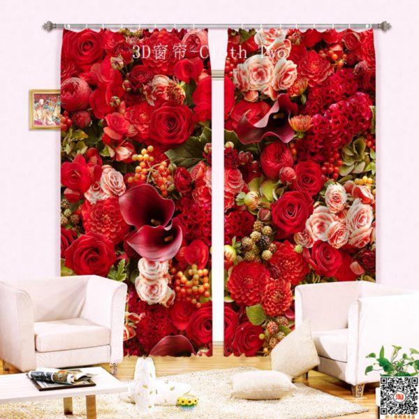 83amazon zpstyvxrhr1 600x600 - Curtain Set With Rose Design