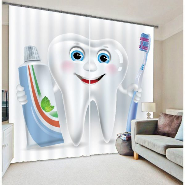 Inspiring Dental Care Routine Picture Curtain Set