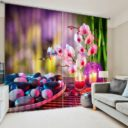 Delightful Flower And Candle Curtain Set