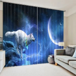 White Fox & Blue Sky/Moon Curtain Set