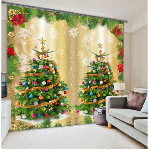 Artistic Christmas Themed Curtain Set