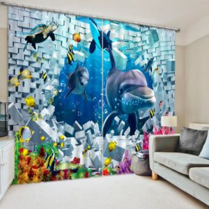 Grand 3D Curtain Set with Dolphin Picture