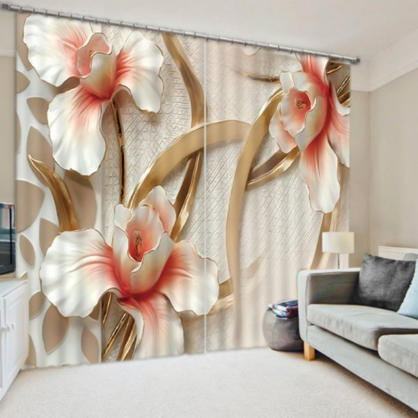 Cool Flower Themed Curtain set in 3D