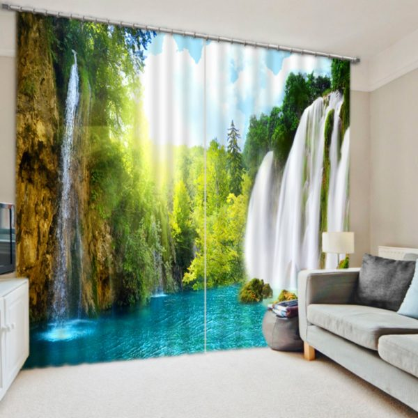 Green and White Waterfall Curtain set