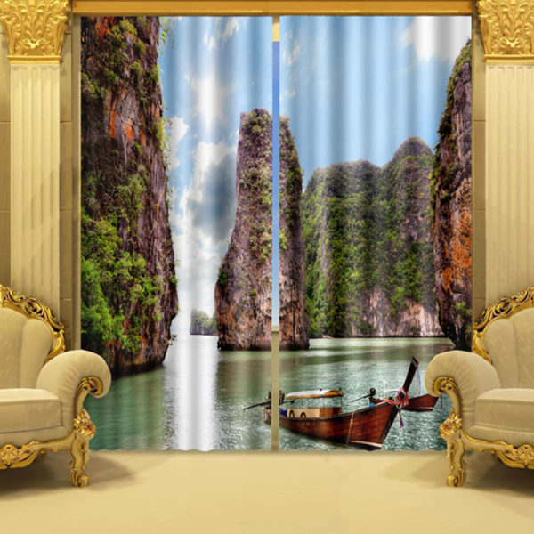 Beautiful Boat Picture Curtain Set