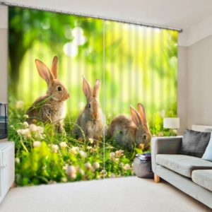 Classy Bunny Picture Curtain Set