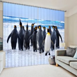 Attractive Penguin Curtain Set