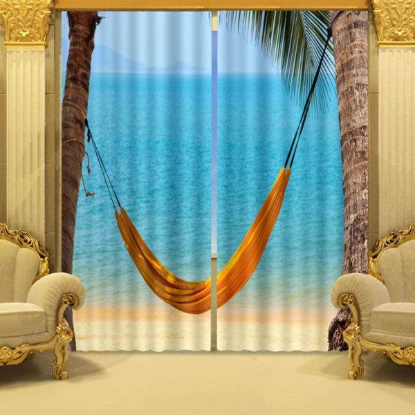 Blue water And Hammock Curtain Set
