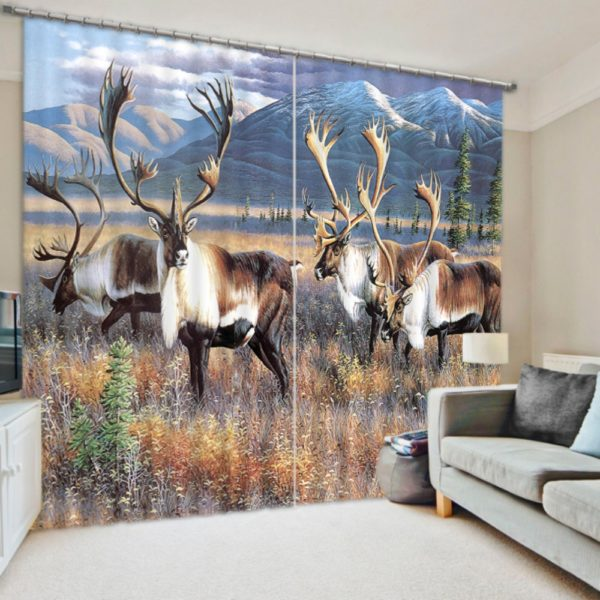 Contemporary Animal Picture Curtain Set