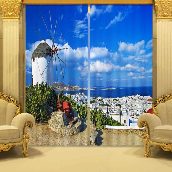 96 zpss4kvmhdi 600x600 - Curtain Set With Windmill Theme