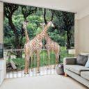 Exquisite Giraffe Picture Curtain Set