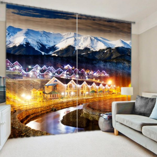 Visually Appealing  Mountains Curtain Set