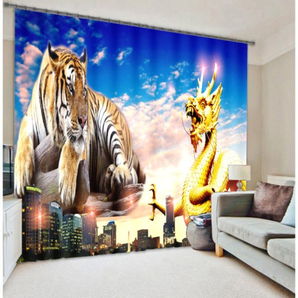 Classic Curtain set With Tiger Picture