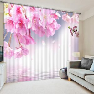Premium Curtain set With Pink Flower Picture