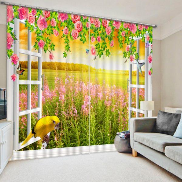 Premium Pink 3D rose Curtain set