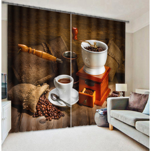 Premium Curtain set With Coffee Picture