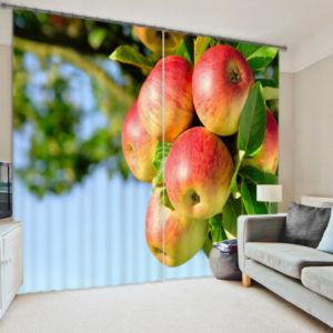 Charming Curtain set With Apple Picture