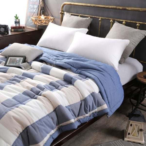 Charming Light Blue Stripe Washed Cotton Comforter 3 600x600 - Charming Light Blue Stripe Washed Cotton Comforter
