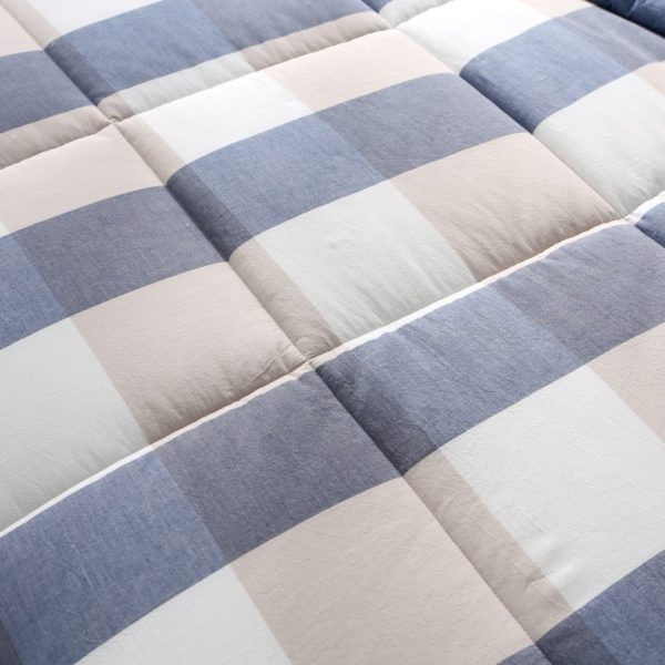 Charming Light Blue Stripe Washed Cotton Comforter