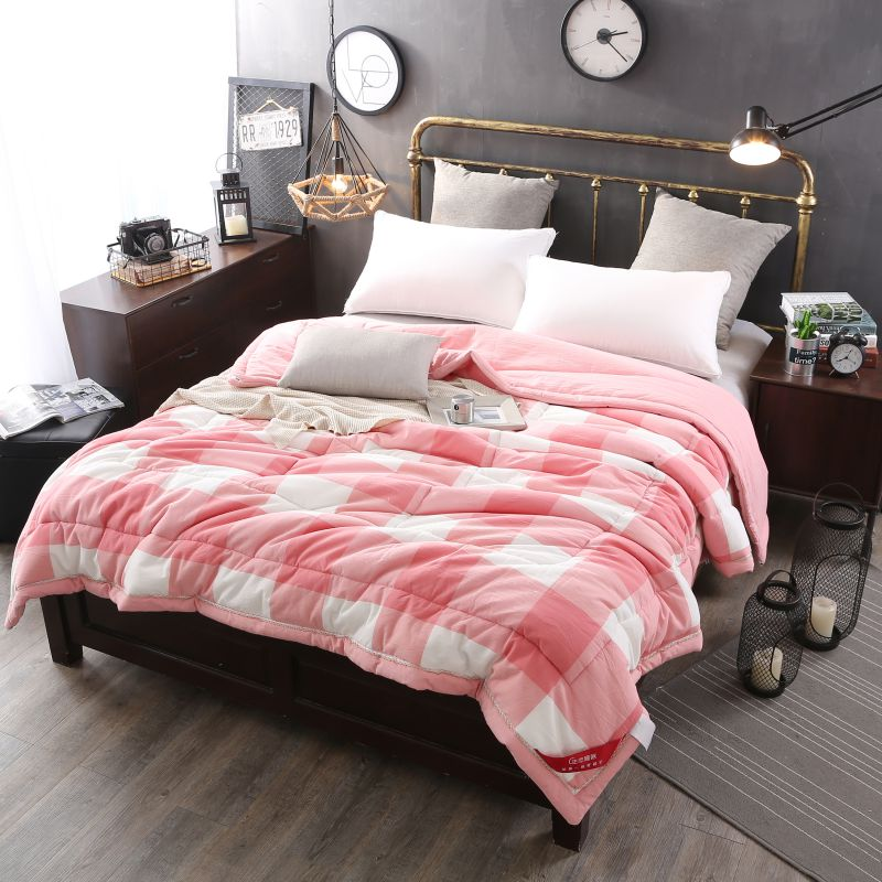 Light Pink Striped Washed Cotton Comforter Ebeddingsets