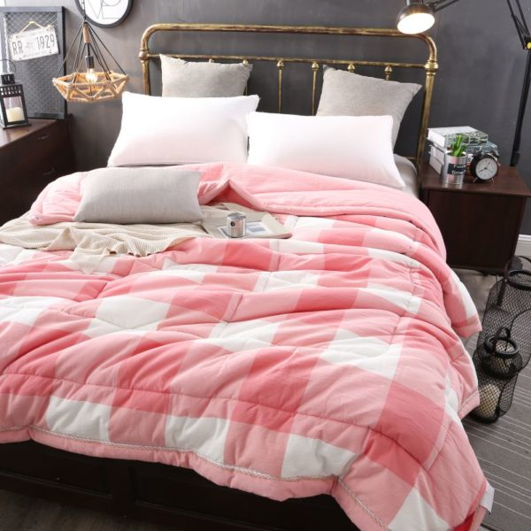 Light Pink Striped Washed Cotton Comforter 2