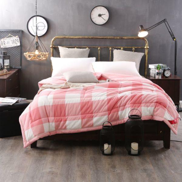 Light Pink Striped Washed Cotton Comforter Ebeddingsets