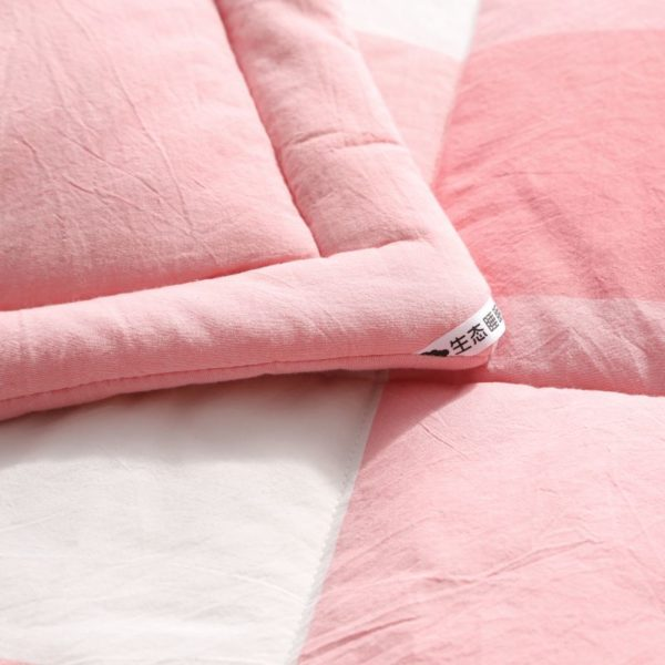 Light Pink Striped Washed Cotton Comforter 6