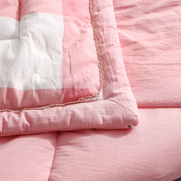Light Pink Striped Washed Cotton Comforter 7