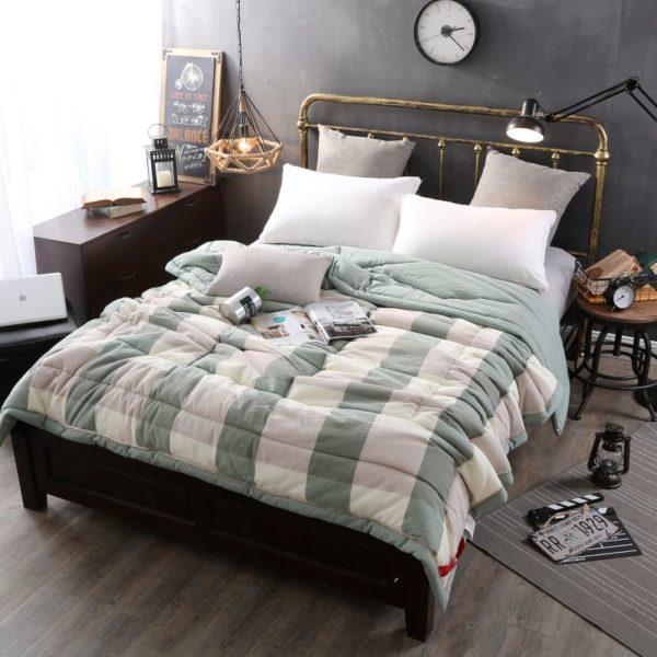 Pretty Striped Aqua Washed Cotton Comforter 1 600x600 - Pretty Striped Aqua Washed Cotton Comforter