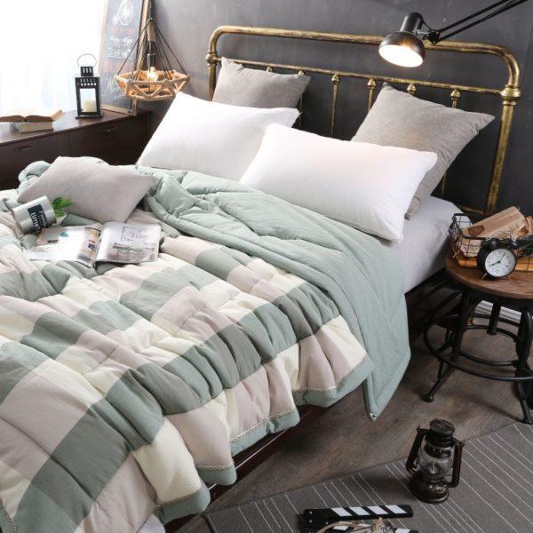 Pretty Striped Aqua Washed Cotton Comforter 2 600x600 - Pretty Striped Aqua Washed Cotton Comforter