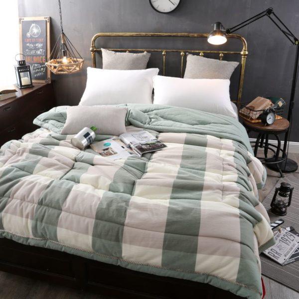 Pretty Striped Aqua Washed Cotton Comforter 3 600x600 - Pretty Striped Aqua Washed Cotton Comforter
