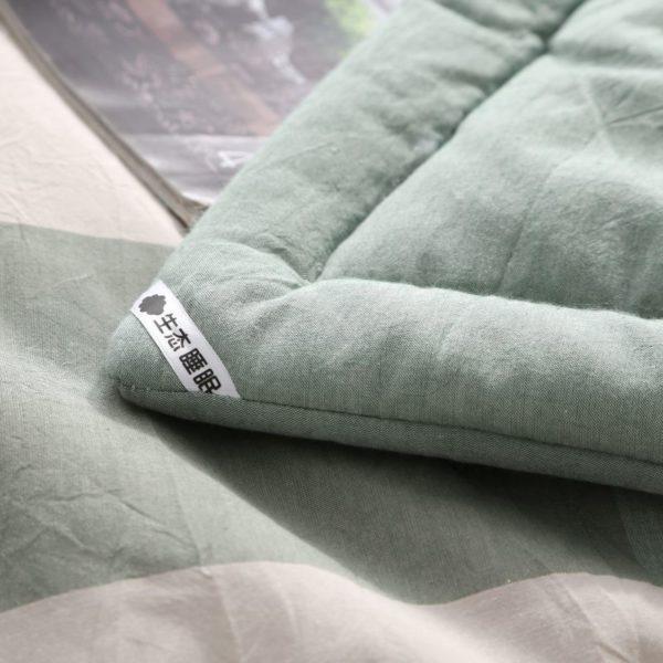 Pretty Striped Aqua Washed Cotton Comforter 5 600x600 - Pretty Striped Aqua Washed Cotton Comforter