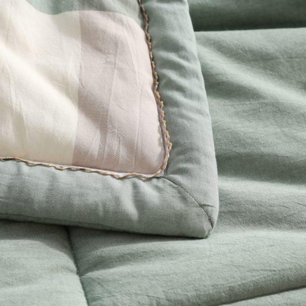 Pretty Striped Aqua Washed Cotton Comforter 6 600x600 - Pretty Striped Aqua Washed Cotton Comforter