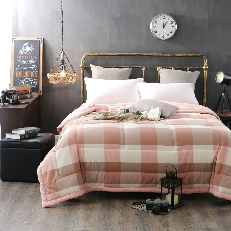Soothing Salmon Pink Striped Washed Cotton Comforter