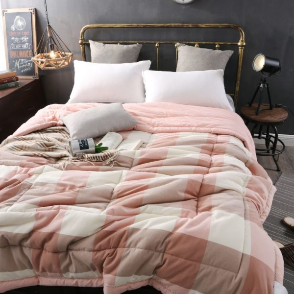 Soothing Salmon Pink Striped Washed Cotton Comforter 4 600x600 - Soothing Salmon Pink Striped Washed Cotton Comforter