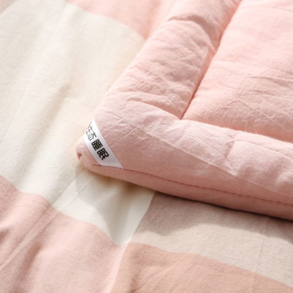Soothing Salmon Pink Striped Washed Cotton Comforter 7 600x600 - Soothing Salmon Pink Striped Washed Cotton Comforter