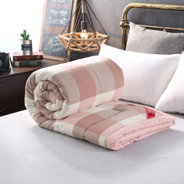 Soothing Salmon Pink Striped Washed Cotton Comforter 9 600x600 - Soothing Salmon Pink Striped Washed Cotton Comforter